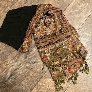 Fancy Black Scarf w/Intricate Gold Sequined Design